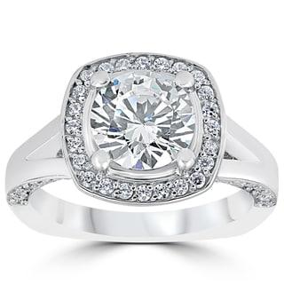 14k White Gold 3 1/2ct Round Diamond Cushion Halo Clarity Enhanced Split Shank Engagement Ring