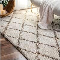 nuLOOM Handmade Wool Jute Moroccan Trellis Ivory Rug - 5' x 8'