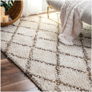 nuLOOM Handmade Wool Jute Moroccan Trellis Ivory Rug (7'6 x 9'6)