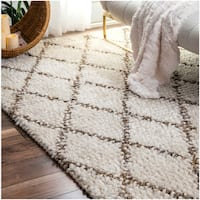 nuLOOM Handmade Wool Jute Moroccan Trellis Ivory Rug - 7'6 x 9'6