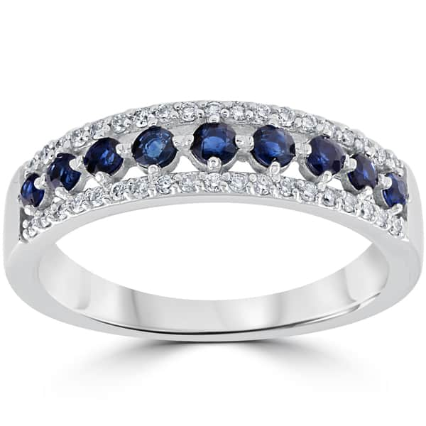 Shop 14k White Gold 5 8 Cttw Blue Sapphire Diamond Wedding Ring