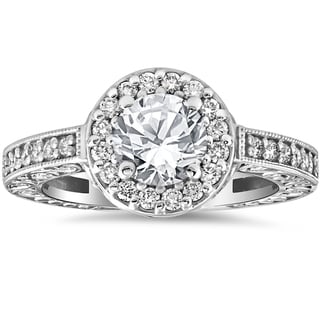 14k White Gold 1 1/3 cttw Diamond Clarity Enhanced Antique Halo Art Deco Engagement Ring