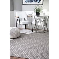 nuLOOM Grey Handmade Casual Diamond Trellis Area Rug