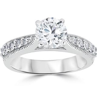14k White Gold 1 7/8 ct Diamond Clarity Enhanced Engagement Ring