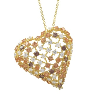 Luxiro Gold Finish Sterling Silver Champagne Cubic Zirconia Heart Pendant Necklace