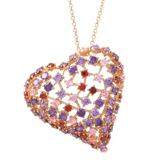 Luxiro Rose Gold Finish Sterling Silver Purple Cubic Zirconia Heart Pendant Necklace