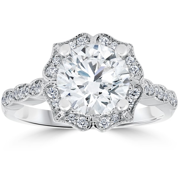 14k White Gold 2 ct TDW Diamond Clarity Enhanced Halo Engagement Ring Vintage Milgrain Accents