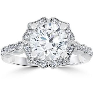 14k White Gold 2 ct TDW Diamond Clarity Enhanced Halo Engagement Ring Vintage Milgrain Accents