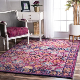 nuLOOM Persian Floral Fuchsia Rug (5' x 7'5)