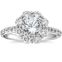 14k White Gold 2 1/2 cttw Halo Round Cut Diamond Enhanced Engagement Ring