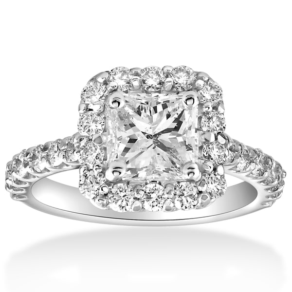 14k White Gold 2 cttw Halo Princess Square Cut Diamond Enhanced Engagement Ring