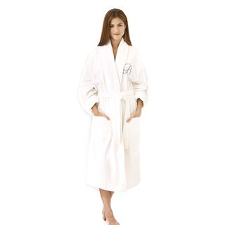 Kaufman White Cotton Shawl-collar Silver Monogram Robe