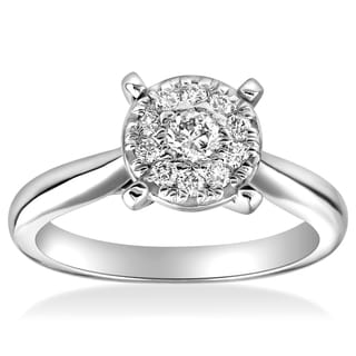 14k White Gold 1/2 cttw Halo Cluster Diamond Engagement Illusion Ring