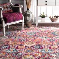 nuLOOM Persian Floral Pink Rug - 5' x 7'5