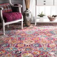 nuLOOM Persian Floral Pink Rug (5' x 7'5) - 5' x 7'5