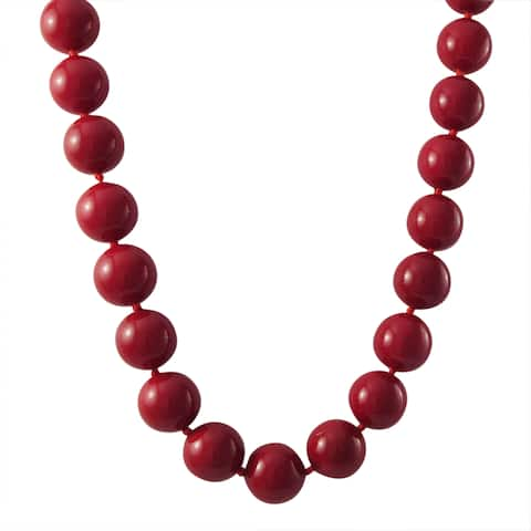 Luxiro Gold Finish 12-mm Red Shell Pearl Strand Necklace