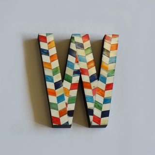 Bone Letters in Chevron Pattern
