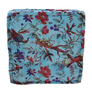 Small Blue Velvet Floor Cushion