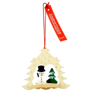 Wooden Snowman and Christmas Tree Ornament