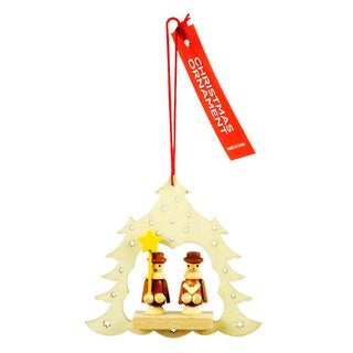 Gold-tone/White Wooden Christmas Tree Ornament