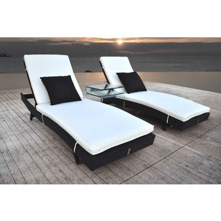 SOLIS Zori 3-Piece Chaise Lounge Set with Glass Occasional Table - Black/Cream
