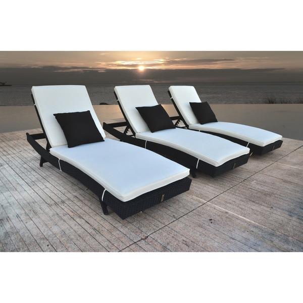Shop Solis Zori 3 Piece Chaise Lounge Set Black Cream