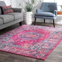 nuLOOM Persian Traditional Medallion Fuchsia Rug (9' x 12') - 9' x 12'