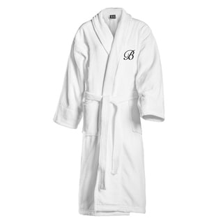 Kaufman Unisex White Cotton Shawl Collar Robe with Black Monogram
