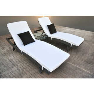 SOLIS Zori 3-Piece Chaise Lounge Set with Glass Occasional Table - Cement Gunmetal Gray