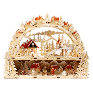 Multicolored Wood Illuminated Christmas Village Accent Piece