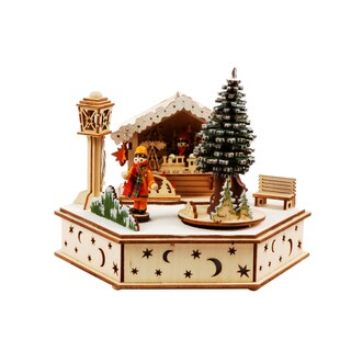 Christmas-themed Illuminated Wooden House with Music Box