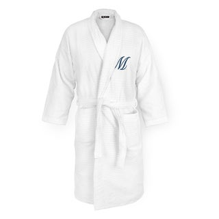 Sugarcube White Cotton Robe With Navy Monogram