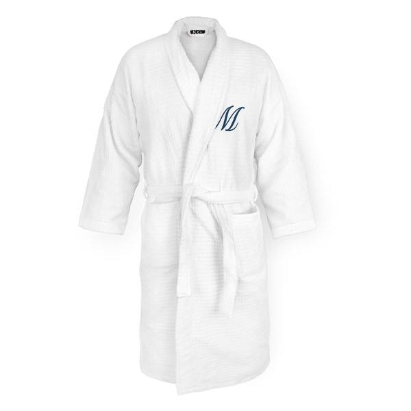 Sugarcube White Cotton Robe With Navy Monogram