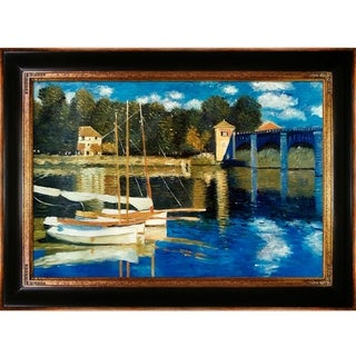 Claude Monet 'The Road Bridge at Argenteuil' Hand Painted Framed Oil Reproduction on Canvas