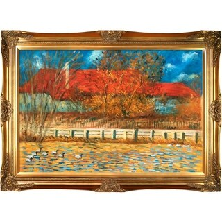 Claude Monet 'The Pond with Ducks in Autumn, 1873' Hand Painted Framed Oil Reproduction on Canvas