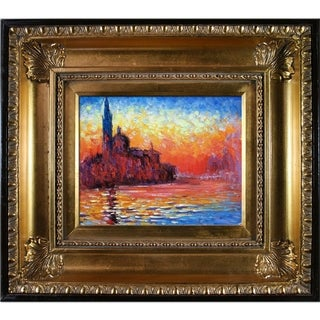 Claude Monet 'San Giorgio Maggiore by Twilight' Hand Painted Framed Oil Reproduction on Canvas