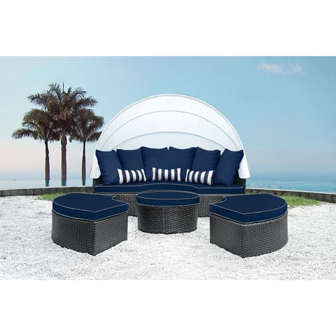 Solis Sombra 4-Piece Navy and White Daybed