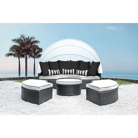 Solis Sombra 4-Piece White and Black Daybed