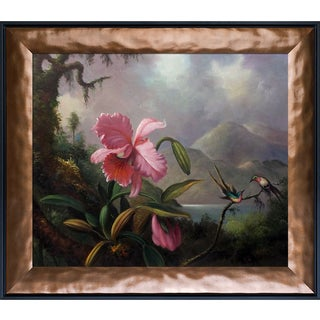 Martin Johnson Heade 'Orchids and Hummingbirds, 1890' Hand Painted Framed Oil Reproduction on Canvas