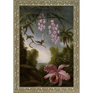Martin Johnson Heade 'Orchids and Spray Orchids with Hummingbird, 1890' Hand Painted Framed Oil Reproduction on Canvas