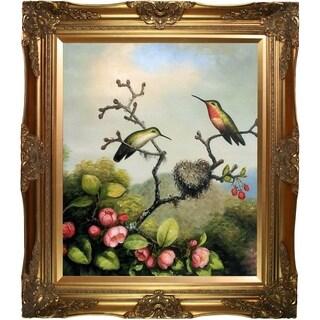 Martin Johnson Heade 'Ruby Throated Hummingbird' Hand Painted Framed Oil Reproduction on Canvas