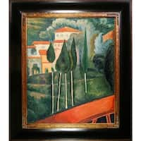 Amedeo Modigliani 'Landscape, Southern France' Hand Painted Framed Oil Reproduction on Canvas