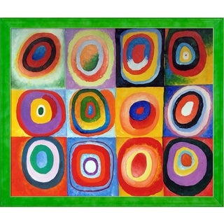 Wassily Kandinsky 'Farbstudie Quadrate' Hand Painted Framed Oil Reproduction on Canvas