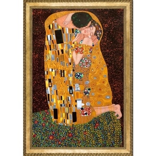 Gustav Klimt 'The Kiss' (Luxury Line) Hand Painted Framed Oil Reproduction on Canvas