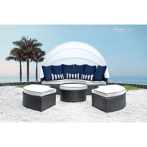 Solis Sombra 4-Piece White and Navy Daybed