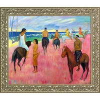 Paul Gauguin 'Riders on the Beach, II 1902' Hand Painted Framed Oil Reproduction on Canvas
