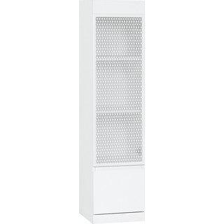 Voelkel Muto Collection White Pierced Metal and Wood 1-door Cabinet