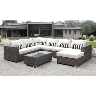 Solis Lusso 7-piece Outdoor Sectional Grey Rattan Patio with White Cushions and Black/White Toss Pillow