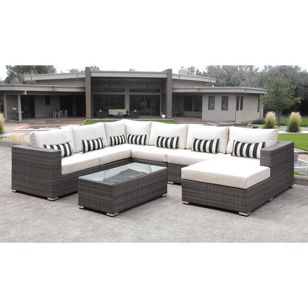 Shop Solis Lusso 7 Piece Outdoor Sectional Grey Rattan
