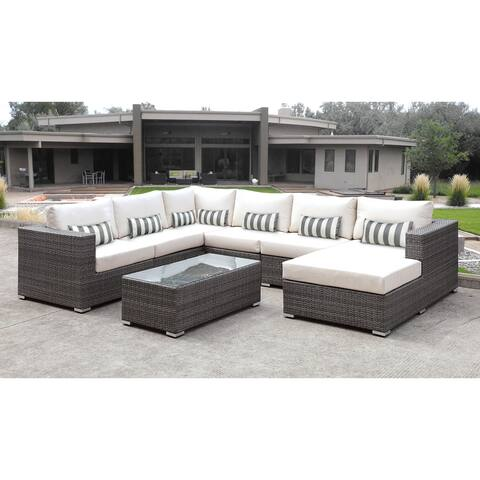 Solis Lusso 7-piece Outdoor Sectional Grey Rattan Patio with White Cushions and Grey/White Toss Pillow